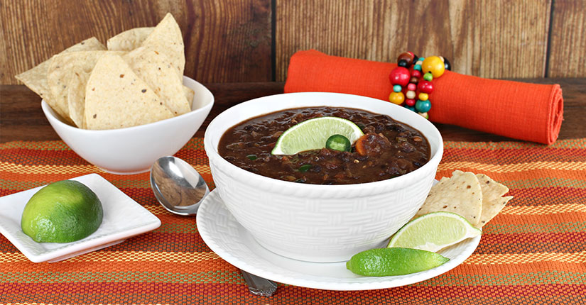 Smoky black bean vegan soup