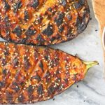 Roasted sesame Eggplant with Cucumber Dip