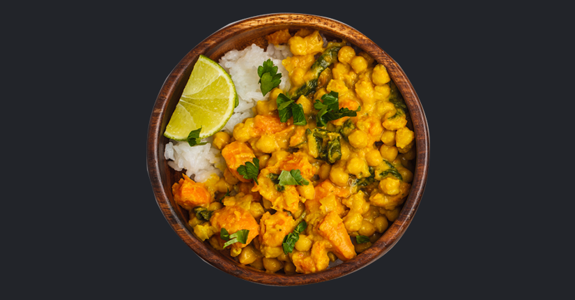Vegetable chickpea rice bowl