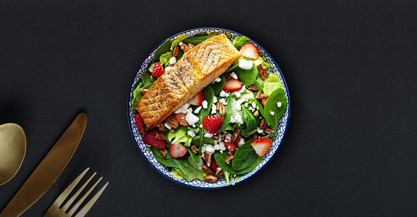 Balsamic Salmon Spinach Salad