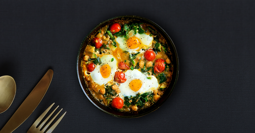 Tomatoey Eggs with Chickpeas and Spinach