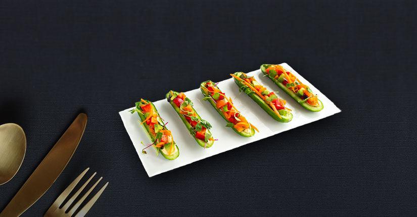 Veggie Hummus Cucumber Boat