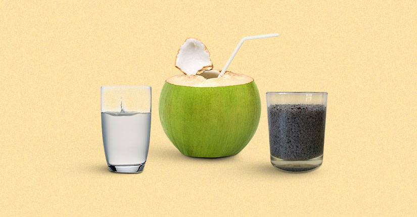 Coconut water with Sabja Seeds
