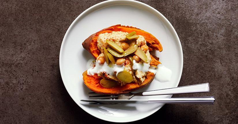 Hummus Stuffed Sweet Potato