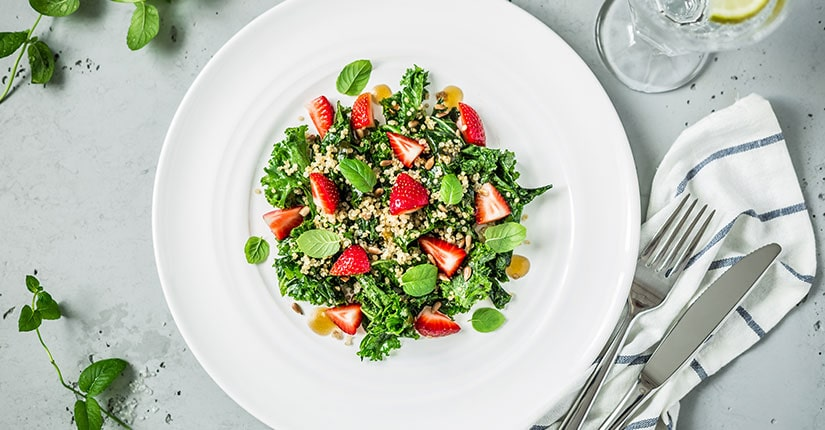 Quinoa Salad with Kale and Strawberries